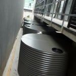 4 x 6000 Litre Round Commercial Steel Water Storage Tanks at Amne Apartments, Essendon